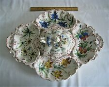 Lge Hand Painted Italian Porcelain Ceramic Covered/Divided Platter/Tray - 21.5""