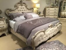 ROMANTIC FRENCH PROVINCIAL STYLE ANTIQUE GRAY QUEEN BED BEDROOM FURNITURE