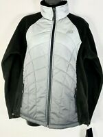 New Balance Women's Large Full Zip Quilted Fleece Jacket Black & Gray Ombre NEW