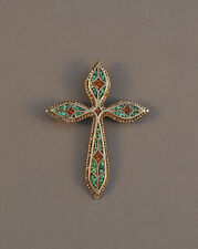 LARGE VINTAGE ZUNI SILVER CROSS PENDANT - BEAUTIFUL TURQUOISE CORAL INLAY - 3""