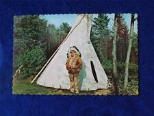 TILLSONBURG ONTARIO CANADA POSTCARD NATIVE CANADIAN INDIAN CHIEF AND HIS TEPEE