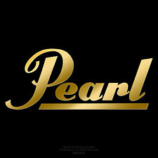 """Pearl Drums logo 8"""" X 3.25"""" Mirror Gold logo sticker decal for bass drumhead"""