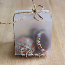 15 x CLEAR FROSTED MATTE SQUARE BOXES Wedding Baby Shower Favour Gift Bomboniere