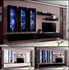 Anbauwand Wohnwand Wohnzimmer Schrankwand FLY E HOCHGLANZ PVC LED BELEUCHTUNG