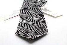 """NWT Versace Silk Dress Tie Necktie 2.75"""" Silver Black Zig Zag Geometric"""