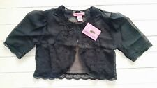 BETSEY JOHNSON Sheer CROP Evening BLACK Shrug SEQUIN Lace S / M Free Shipping