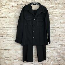 True Vintage Black Leisure Suit Pants Jacket Set Groovy Mod Disco Club 46 Chest