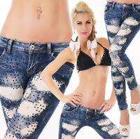 ORIGINAL Damen Hüft Jeans Hose Röhrenjeans Röhre Strass Nieten Skinny Destroyed