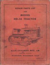 Allis Chalmers Modelo HD-14 Tractor Reparación Piezas catálogo original de fábrica