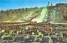 Iron Mountain MI artifical ski jumping hill Old Cars Postcard