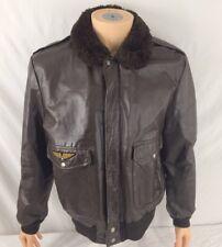 Vtg Cooper Leather Bomber Jacket Brown Faux Fur Collar Coat Men 42 Patch