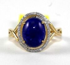 Natural Oval Lapis Lazuli & Diamond Halo Solitaire Ring 14k Yellow Gold 2.96Ct