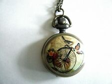 Mini Quartz Pocket Watch Necklace Bicycle & Birds Design Battery Included New