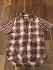 River Island Men's Red And Blue Checked Short Sleeved Shirt Size M