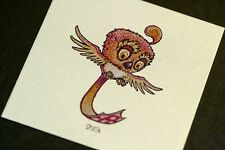 Marq Spusta Mini Micro Fweep Red Bird Metallic Silver Shimmer Art Print Handbill