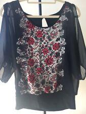 gogeous ladies Jeanswest floral bohemian split sleeve top size 8