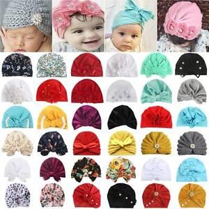 Cute Toddler Kids Newborn Baby Girls Turban Beanie Hat Bow Flower Headwear Cap