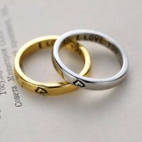 2Pcs Retro Couple Rings Gold Silver Heart I Love You Friends Women Men Ring Gift