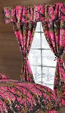 BRIGHT PINK CAMO THE WOODS CURTAINS 5 PC SET AND VALANCE DRAPES NEW WOODS DRAPES