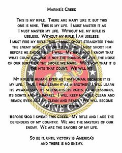 """US Marine Corps Creed poly  8x10"""" Quilting Fabric"""