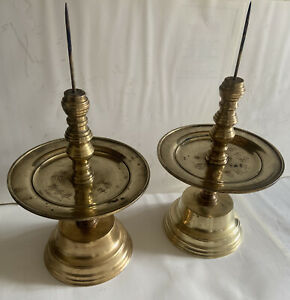 Pair Of Unusual Antique Chinese Heavy Candlesticks Holders