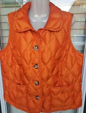 Talbots Goose Down Feather Blend Orange Petite X Puffer Vest Jacket