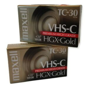 Maxell VHS-C TC-30 HGX-Gold Premium High Grade Camcorder Video Tapes NEW QTY 2