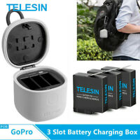 TELESIN For Gopro Hero 8 7 6 5 Travel Charger 3 Battery 3 solt Charging Box US