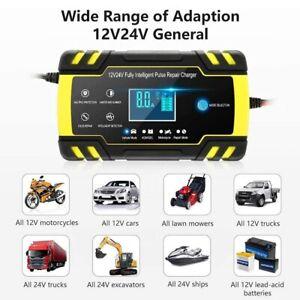 Chargeur de Batterie Intelligent Portable 12/24V LCD Écran Protections Multiples