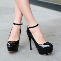 Womens Super High Slim Heel Platform Ankle Strap Buckle Mary Janes Party Shoes