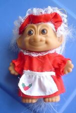 """Troll Vintage Russ Christmas 3 1/2"""" Tall With Outfit And White Hair"""