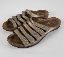 DANSKO Womens Janie Pewter Metallic Sandal Sz 9.5 / 40 Slides Adjustable Straps