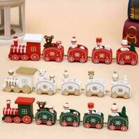 Christmas Wooden Train Santa Claus Xmas Festival Ornament Decor Sale P4V6