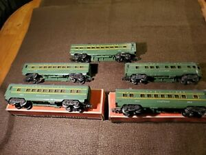 Lionel Post War O/027 Lot of 5 2400 Series Pass Cars/2 Org Boxes GC 1948/49
