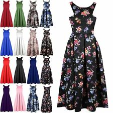 New Womens Ladies Floral Cutaway Neckline Swing Pleated Flared Skater Midi Dress