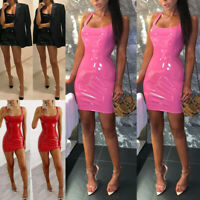 Women PU Leather Wet Look Bodycon Bandage Party Cocktail Club Mini Dress