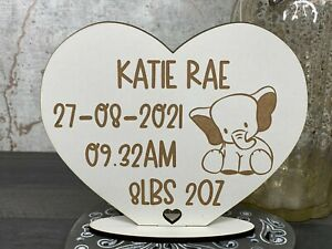 Personalised Baby Birth, Date, Weight, Time Elephant Heart Stand Keepsake Gift