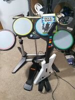 Xbox 360 Xplorer Guitar + RockBand Drums + Wired Tested Works!