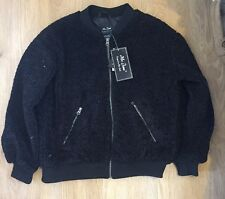 Me Jane New York Black Faux Fur Bomber Style Jacket Coat Size S Brand New