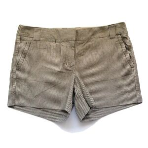 J. Crew Women's City Fit Shorts Size 10 Cotton Taupe White Pinstripe New $58