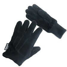 Thinsulate Mens Black Leather Warm Thermal Insulation Winter Gloves - Size 10