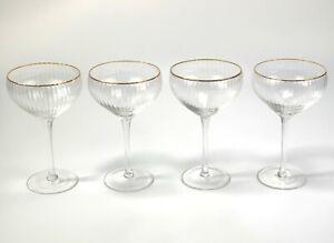 4 x Gold Rim Ribbed Cocktail Glasses Martini Glasses Prosecco Glass