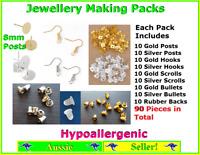 Jewellery Making Pack Set Kit Butterfly Earring Hooks Backs Findings 8mm Post
