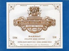 SAUTERNES 1ER GCC VIEILLE ETIQUETTE CHATEAU COUTET A BARSAC 1988 RARE §24/11/17§