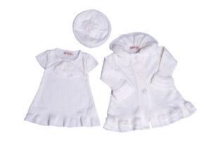 Strickkleid Strickmantel Taufkleid Taufset: Kleid Mantel Mütze Ivory 62 68 74 80