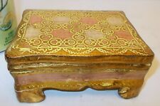 Vtg  Carved WOOD Trinket Jewelry BOX ITALY Pink Gold  Vanity