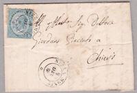 1864 c.15 DLR su lettera da Nizza Monf.to col raro ambulante bologna-torino n.2