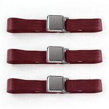 Early Cars 1933 - 1934 Airplane 2pt Burgandy Lap Bench Seat Belt Kit - 3 Belts