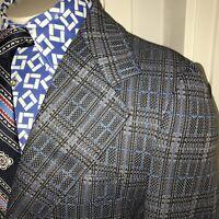 Vtg 60s 70s Blazer POLYESTER Leisure Suit Jacket Sport Coat Blue Plaid MENS 38