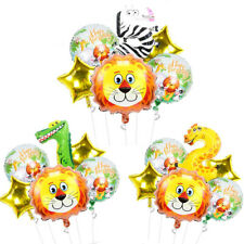 6pcs Number Lion Animal HELIUM Balloons Set Birthday Party Decoration Boys Game